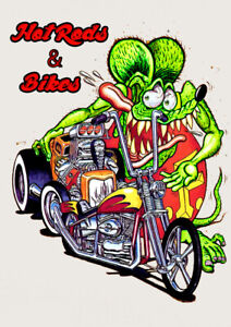2 Pack Rat Rod Hot Rod Sticker Rat Fink Vintage Racing Tool Box Gas Oil