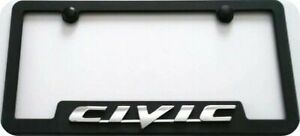 Honda Civic 3d License Frame Black Abs Plastic Clear Lens