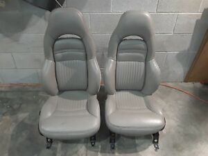 1999 Corvette C5 Driver Passenger Sport Seat Set Seats Power Lumbar Grey Aa6365