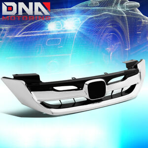For 2013 2015 Honda Accord Sedan Chrome Sport Style Front Bumper Upper Grille