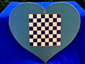 Antique Vintage Wall Hanging Decor Grandma Checkerboard Folk Art Primitive Heart