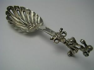 Dutch Solid Silver Monkey Spoon Strainer Serving Spoon Holland Netherlands 1900s