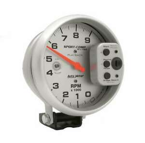 Auto Meter 5in S C Silver 9000 Rpm Playback Tach P N 3964