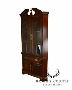American Drew Cherry Chippendale Style Traditional Corner Cabinet