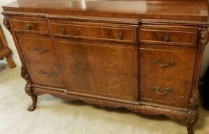 Antique French 1920 S Walnut 3 Piece Bedroom Set Antique Chippendale