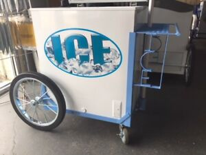 New Ice Storage Cart W umbrella Graphics Water Ice Vendor Concession