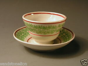 Antique Spatterware Cup And Saucer Circa 1810 Spongeware