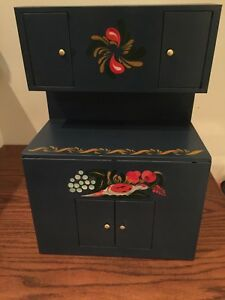 Antique Vintage Painted Tin Child S Cupboard