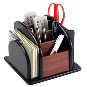 6 compartment Wood Rotating Remote Caddy desktop Office Supply Organizer Holder