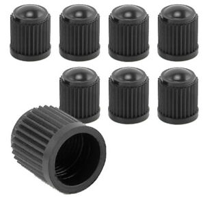 8x Black Plastic Tire Valves Air Dust Cover Stem Caps For Wheel Car Suv Bike