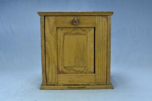 Antique Golden Oak Desk Top Or Wall Mount Cabinet Case W Key Pull Out 05101
