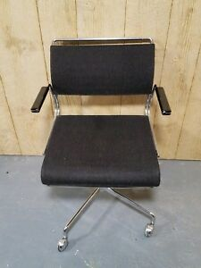 Vintage Mid Century Modern Chrome Harter Executive Swivel Office Chair Knoll