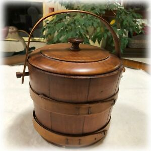 Vintage Primitive Round Wood Wooden Firkin Box Pail Bucket Lidded Sewing Sugar