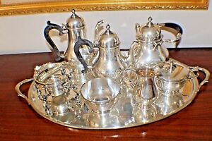 8 Pieces Gorham Sterling Silver Tea Set Sterling Tray Monogram Hand Wrought