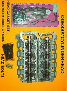 Pair Jeep Chrysler Dodge 4 7 Sohc Cylinder Heads 99 04 Gaskets Bolts No Core