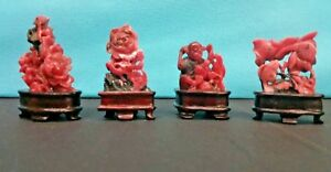 Group Of Four Chinese Rhodochrosite Carving With Wood Stand