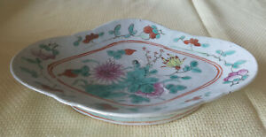 Antique Chinese Famille Medallion Porcelain Footed Dish Platter Mums