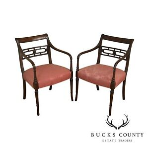 Hickory Chair Regency Style Pair Of Mahogany Arm Chairs