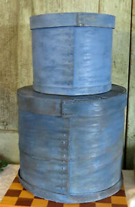 2 Stacked Old Primitive Wood Wooden Kitchen Shaker Pantry Box Grubby Blue Paint