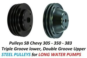 Sb Chevy Crankshaft Pulley 3 Groove Lwp Long Water Pump 2 Groove Sbc 305 350 383
