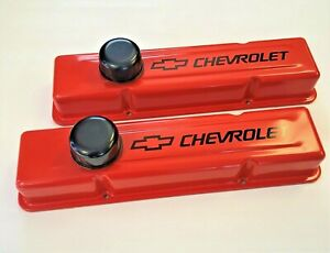 Chevrolet Sbc Orange Steel Tall Valve Covers Black Chevrolet Logo 58 86 New