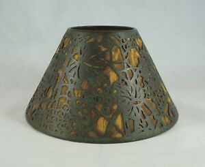 Rare Early Tiffany Studios Bronze Grapevine Candle Shade W Mica Fabric Liner