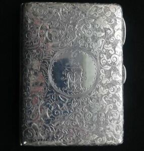 Lovely Antique Victorian English Sterling Silver Aide Memoire Card Case
