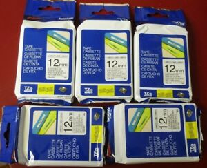 Brother Tze 231 Lot Of 5 P touch 12mm Black On White Tape 1 2 Tz Genuine 5 pack