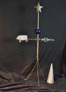 Antique Tin Pig Weathervane Complete Directional Blue Ball Unusual Tin Star