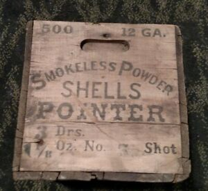 UncommonRare Pointer Ammo Wood Box Meriden CT Fire Arms Co 12 gauge 5-shot