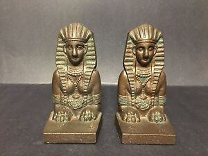 Rare Pair Of Antique Old Sphinx Egyption 1920 S Figural Bookends Art Deco Iron