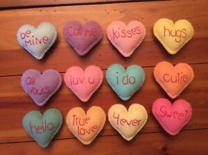 Set Of Twelve Primitive Wool Felt Ornies Bowl Fillers Candy Conversation Hearts