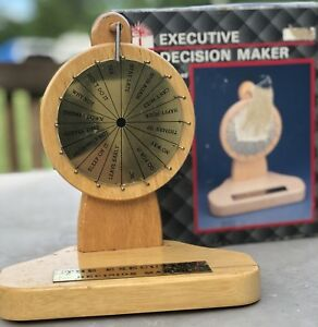 Executive Decision Maker Wood Metal Desktop Spin The Wheel With Box