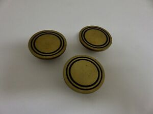 Vtg Lot 3 Solid Brass Knobs Concentric Circle Ring Drawer Cabinet Pull