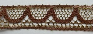 Vintage Gold Metallic Lace Trim Reddish Brown Scalloped Acent French
