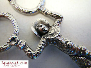 German Hanau Harlequin Monkey Tongs Antique Solid Silver 800 Sugar Nips Scissors