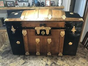 1871 Dome Steamer Trunk With Rare Double Lock And Completely Refinished