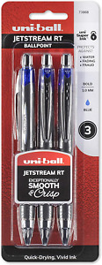 3 Uni ball Jetstream Rt Ballpoint Pens Bold Point 1 0mm Blue 73868 New