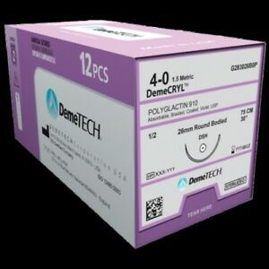 Demetech 4 0 18 Polyglycolic vicryl Absorbable Braided Coated 12 box Sutures