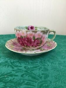 Old Japan Hand Painted Roses With Gold Trim Cup Saucer
