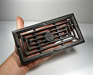 Antique Cast Iron Old Stove Rectangle Pipe Flue Cover Grate Ventilator Alba 4