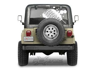 Jeep Distressed Mud Tire Tracks Rear Window Hood Truck Vinyl Decal Graphic Suv