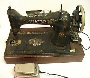 L K Vintage Black Gold Singer Sewing Machine And Footswitch Pedal Wood Base