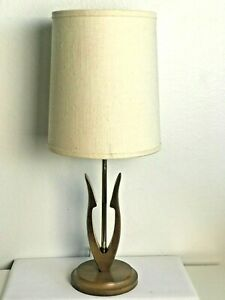 Mid Century Danish Modern Style Small Wood Tulip Lamp Orig Shade Works Vintage