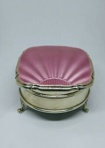 Antique English Silver Pink Guilloche Enamel Jewellery Box W H Sheffield 1931