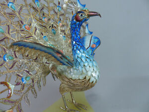 Chinese Enameled Sterling Silver Peacock Figurine Pearls Coral Turquoise Jewels