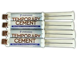 4 X Dental Automix Non eugenol Temporary Cement Syringe 10 Ml no Mixing Tips