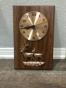 Old A F Wooden Clock With Copper Tone Elk And Baby Works Made In Canada