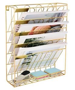 Superbpag Hanging Wall File Organizer 5 Slot Wire Metal Wall Mounted Document