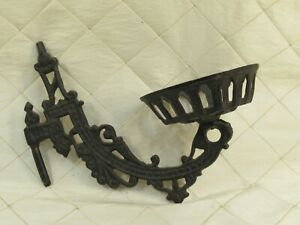 Cast Iron Wall Sconce Candle Holder Oil Lamp Victorian Antique Ornate